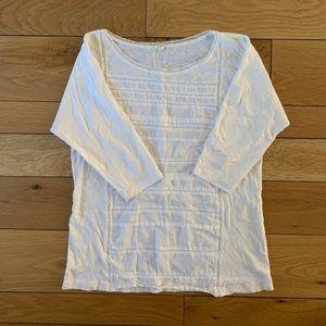 J Crew White Half Sleeve Lace Top